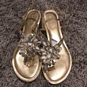 Nina sandals 6.5 36.5 gold bling jeweled
